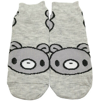 Cute Bear Design Fashion Socks Summer Girls Boys Gift Gray Low Cut Sizes 5-10
