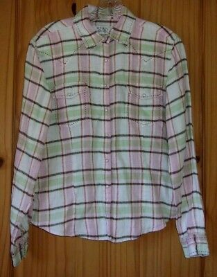 Ryan Michael Ivory, Brown, Lt. Green & Pink Plaid Linen Pearl Snap Shirt, Wom. S