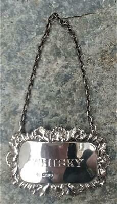 Beautiful Vintage Sterling Silver Whisky Decanter Label by Francis Howard