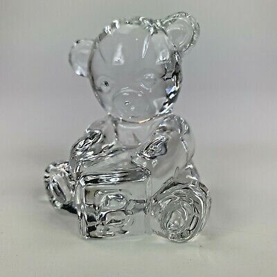 Waterford Crystal baby bear w/ block figurine paperweight sculpture