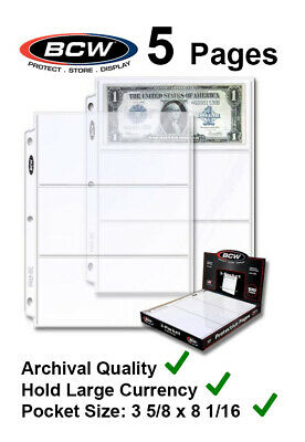 5 BCW 3 Pockets Pages For Large $ Dollar Currency Bill For 3 Rings Binder Album