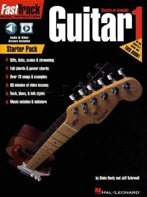 Fast Track Guitar 1 TAB & Music Book/Audio/Video Starter Pack Riffs Licks Scales