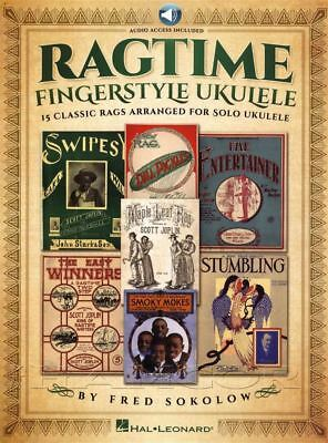 Ragtime Fingerstyle Ukulele TAB Music Book/Audio Chords 15 Classic Rags Solo