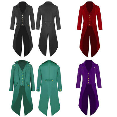Mens Retro Swallow-tailed Crop Coat Tuxedo Banquet Stage Tail Overcoat Suit AU