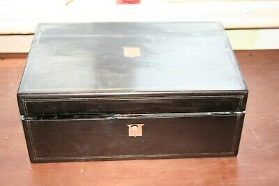 ebony victorian writing slope with brass inlay stringing