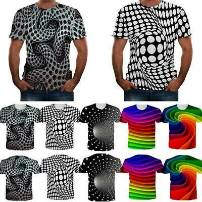 3D Hypnosis Swirl Print Men Women Short Sleeve T-Shirts Casual Graphic Tee Tops