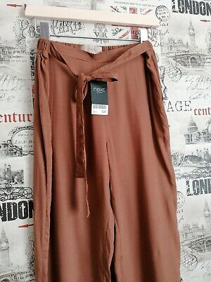 BNWT NEXT Brown Belted Straight Leg Trousers Size 8 UK XLong Summer