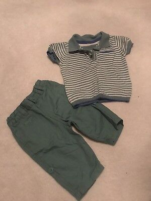 Marks And Spencer Baby Boy Autograph Outfit Size 0-3 Months Top And Shorts Set