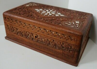 Vintage Large Wooden Box / Hand Carved Inlaid Jewellery Trinket Antique Chest 37