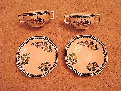 Antique Royal Doulton Soup Bowl & Saucer Double Handled Lot of 4 England  VG