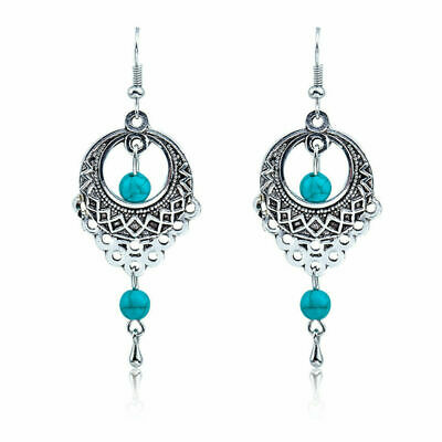 Women's Tibetan Silver Turquoise Dangle Drop Bead Earrings Gypsy Bohemian Tribal