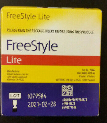 FreeStyle Lite Glucose Blood Test Strips 100 CT Box  EXP 2021-02-28