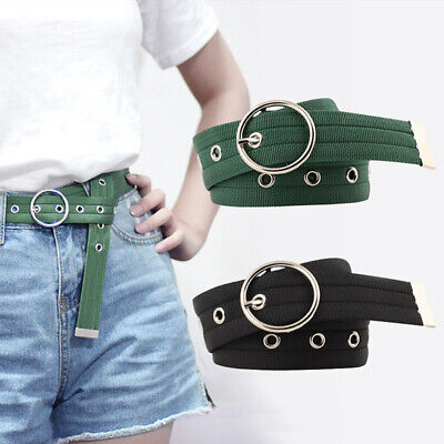 110cm Long Hollow Out Tail Hole Round Buckle Pin Belt Webbing Canvas Waistband D