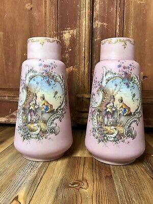 Antique Victorian Pair LARGE Satin Frosted Vases Set Portrait Painted European