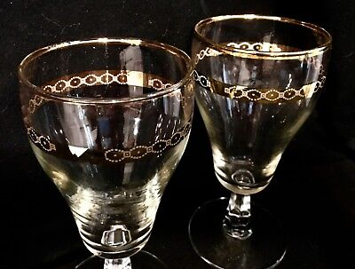 2 Antique Clear Water Goblet Drinking Glass Delicate Gold Bands Faceted Stems