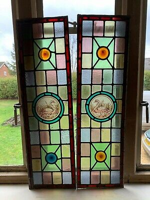 Stunning Victorian Antique leaded stained glass windows with painted swan panels
