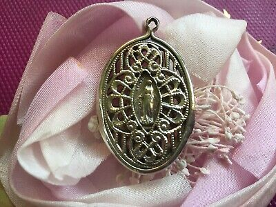 Antique Vintage Sterling Religious Medal w Mary~Madonna In Open Filigree Design