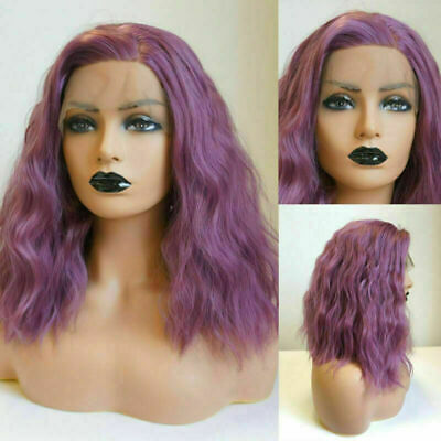 Fashion 16 Inches Party Medium Bob Curly Body Wave Ash Purple Lace Front Wig+Cap
