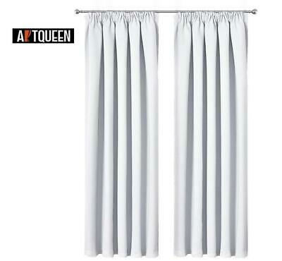 Art Queen 2X Blockout Curtains Pinch Pleat Pleated Blackout Room Darkening White