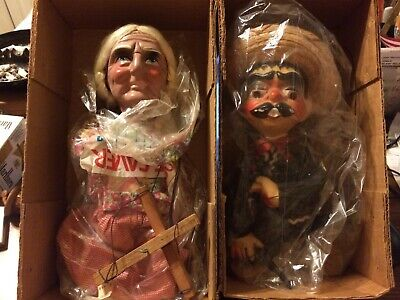 Vintage Mexican Hand Made Marionettes Man & Woman Lot Of 2 Folk Art