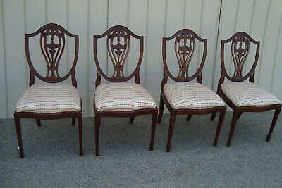60312 Set 4 Antique Mahogany Shield Back Dining Chair s
