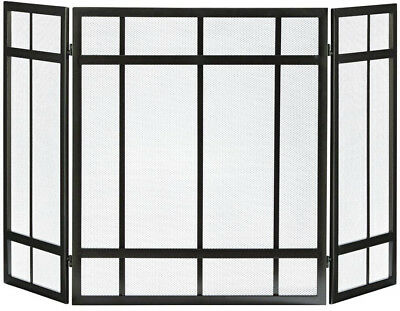Pleasant Hearth Fireplace Screen Mission Style 3-Panel Steel Mesh Screen Brown