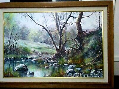 RICHARD HAZEL Original oil on canvas landscape painting signed framed beauty
