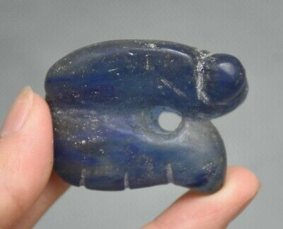 "2"" Ancient Hongshan Culture Old Blue Crystal Carved Animal Cicada Statue Pendant"