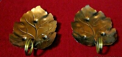 """Vintage Pair of Coppercraft Guild Copper Leaf Shape Dishes approx. 6"""" in Length"""