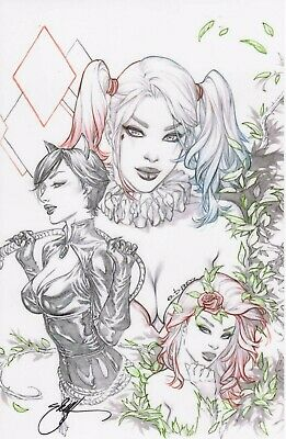 Gotham Sirens Sdcc 2019 Art Print Signed  By Ebas 11X17