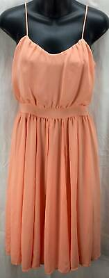 Paper Crown Dress Petite Extra Small 2P Peach Fit Full Scoop Neck Spaghetti 986