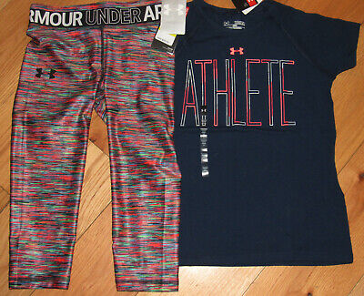 Under Armour Athlete navy blue top & cropped leggings NWT girls' M YMD