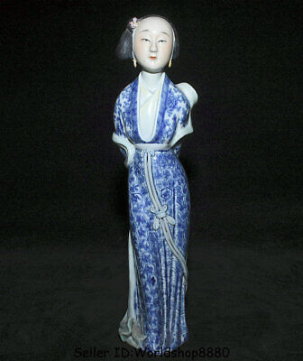 "11.2"" Old China Blue White Porcelain Dynasty classic feminie maidservant Statue"