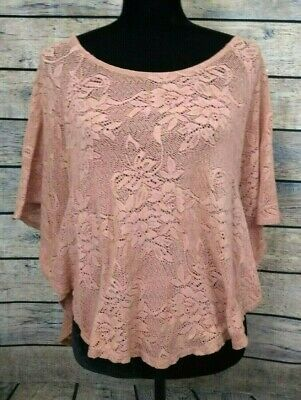 XXI FOREVER 21 Womens Shirt Lite Bittersweet Color Size Medium Lace Stretch  Top