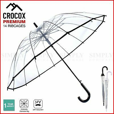 Crocox Clear Umbrellas Automatic Windproof Large Long Men Womens Dome Birdcage