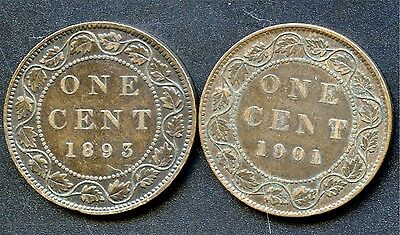 1893 & 1901 Canada Large Cent Coins
