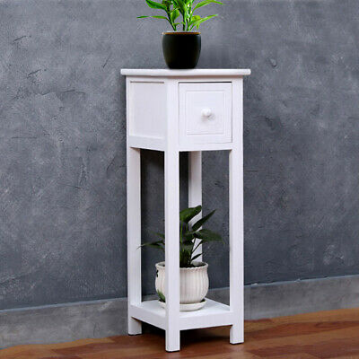 Small Telephone Table Plant Stand Bedside Hall Lamp Wood Unit Side Drawer White