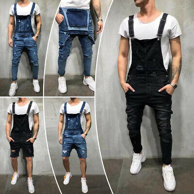 0ef05fcc1460 Men Denim Overalls Suspenders Pants Dungarees Bib Jumpsuit Jeans Shorts  Trouser