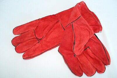 1 Pair of Red Welders Gauntlets Polyester Lined Quality Welding Gloves Leather