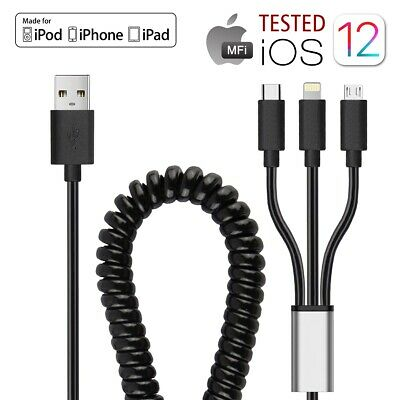 MICRO USB COILED Retractable Data Sync Charger Cord Cable