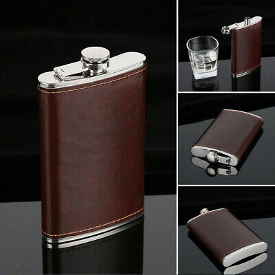 Engraved Leather Wrapped Stainless Steel 9 oz Hip Flask Portable Whiskey Flagon