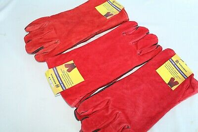 Leather 10 Pairs Red Welders Gauntlets Polyester Lined Quality Welding Gloves