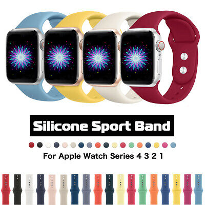 38/42/40/44mm Silicone Sports Apple Watch Band Strap for iWatch Series 5 4 3 2 1