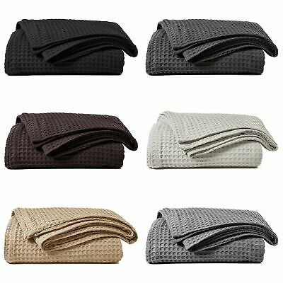 Luxury 100% Cotton Honeycomb Waffle Effect Sofa Settee Bed Chair Blanket Throw