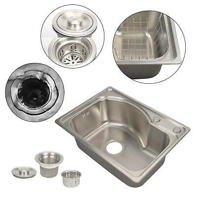 Stainless Steel Kitchen Sink Single Bowl Laundry Catering Topmount Square Modern