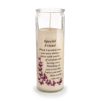 Friend Glass Vase Memorial Candle Remembrance Graveside Wax Jar Candle Tribute