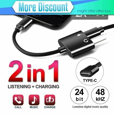 2in1 USB C Type-C to 3.5mm Headphone Jack Adapter AUX & Sync Data Charge Cable