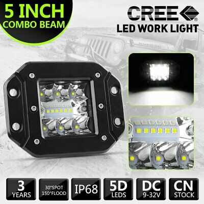 Flush Mount 5inch CREE LED Work Light Bar Flood Spot Combo Driving Reverse 3-row