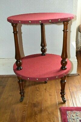 Victorian Walnut Aesthetic Movement corner / Side / End Table in Harris Tweed