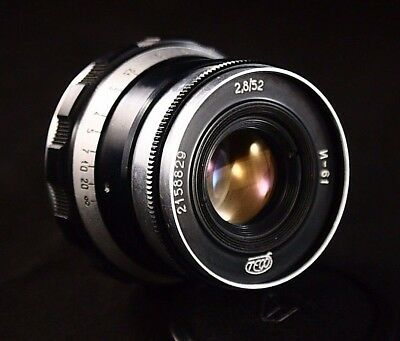 Soviet Lens INDUSTAR - 61. 52mm f 2.8  mount m39 Leica  Zorki FED RF.